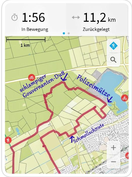 GPS-Zeichnung - Frauenkopf im Profil